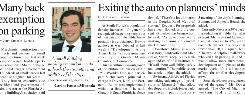 Momentum Increases for Parking Exemption, Miami Today 10.30.2014