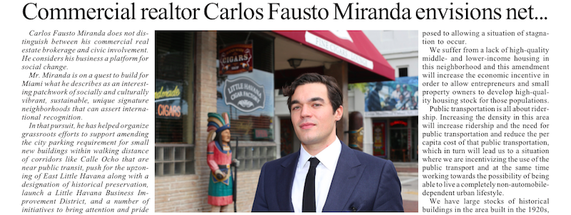 Miami Today Features a Profile on Fausto
